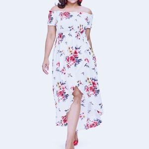 Dresses & Skirts - New! Smocked Floral Bardot Wrap Hi Lo Maxi Dress